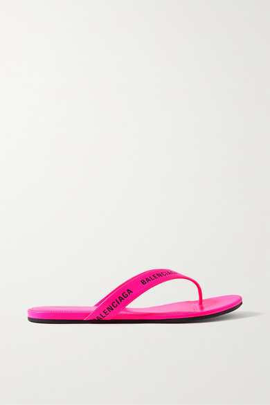 Balenciaga Logo-print Neon-leather Flip Flops In Pink