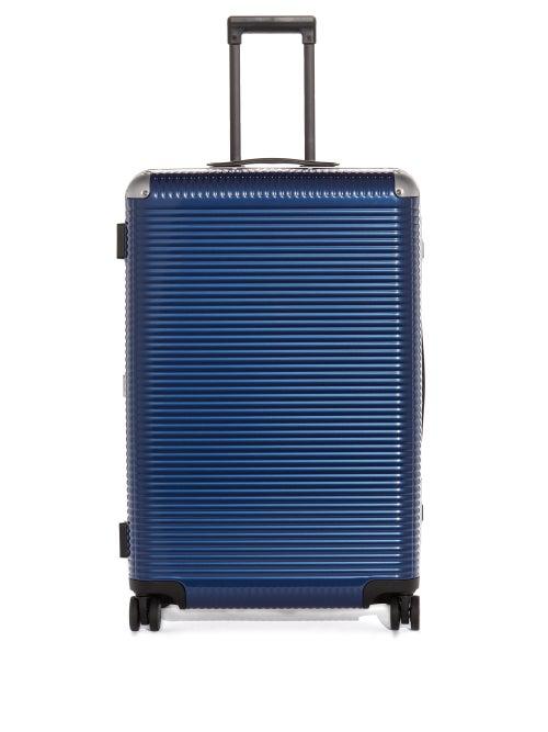 Fabbrica Pelletterie Milano Bank Light Spinner 76 Aluminium-trim Suitcase In Blue