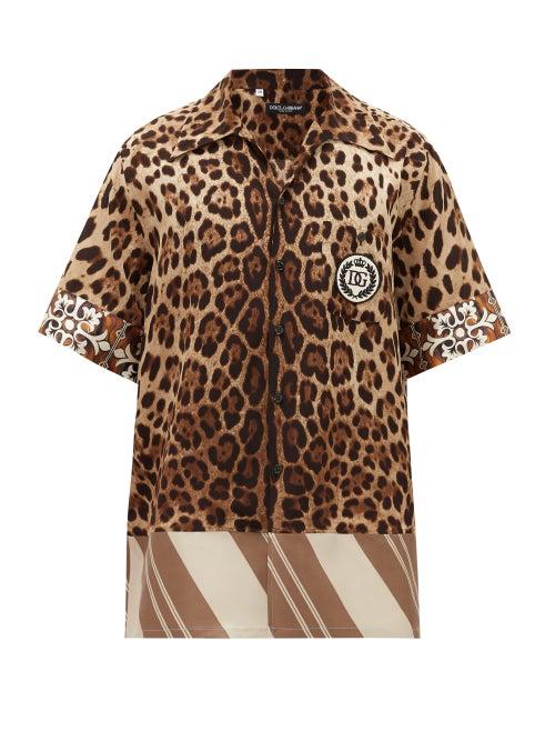 Dolce & Gabbana Logo-patch Leopard-print Silk Shirt In Brown