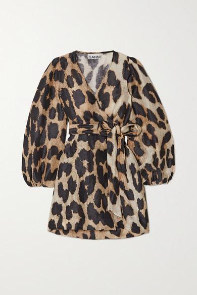 Ganni Leopard-print Linen And Silk-blend Wrap Mini Dress In Leopard Print
