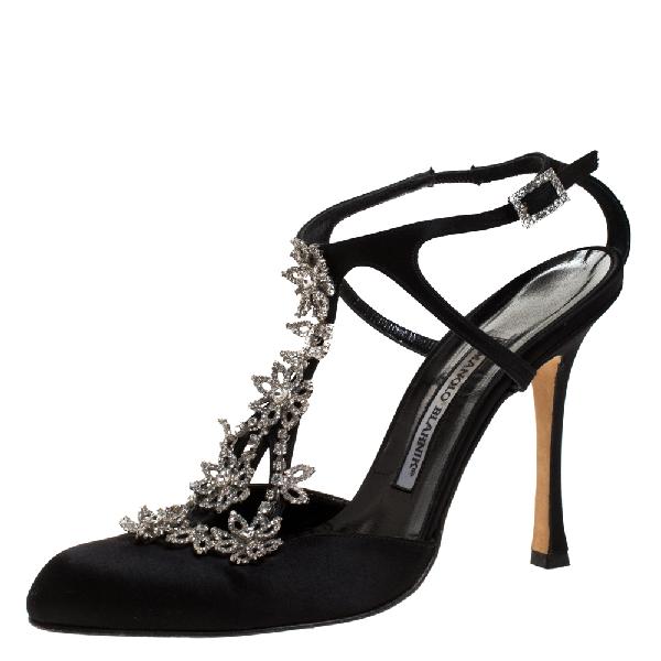 Manolo Blahnik Black Satin Crystal Flower Embellished T- Strap Sandals Size 38