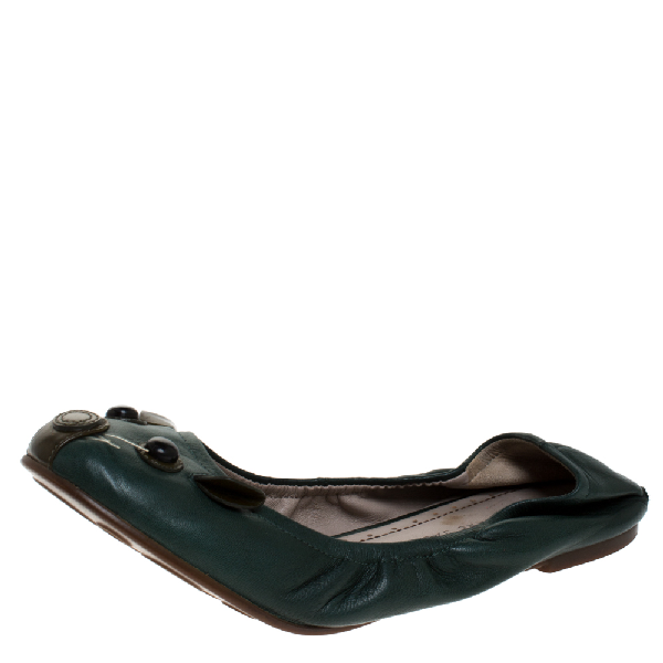 Marc Jacobs Green Leather Scrunch Mouse Ballet Flats Size 37.5