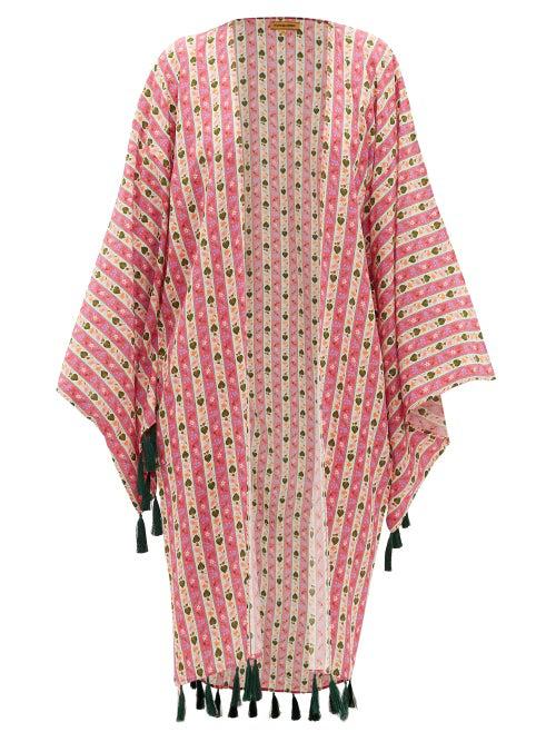Muzungu Sisters Blossom Tasselled Floral-print Silk Robe In Pink Print