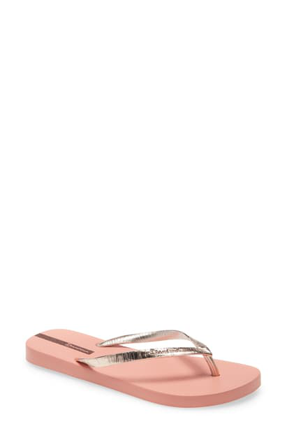 Ipanema Foil Flip Flop In Pink/ Metallic Gold