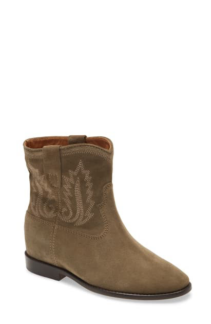 Isabel Marant Crisi Embroidered Western Boot In Taupe