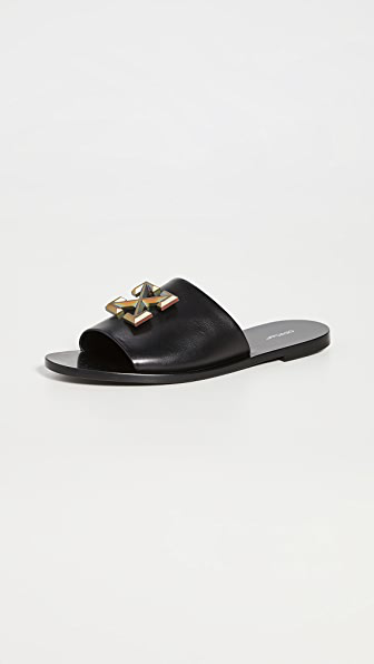 Off-white Arrows Black Leather Sliders