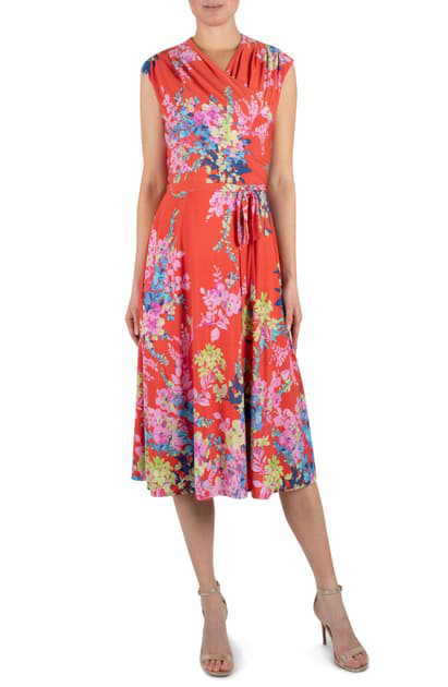Julia Jordan Floral Wrap Front Sleeveless Jersey Dress In Orange Multi