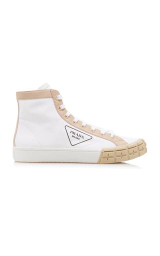Prada Bicolor Gabardine Wheel High Sneakers In White Multi