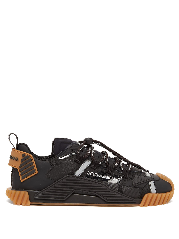Dolce & Gabbana Ns1 Mixed Materials Black And Brown Sneakers