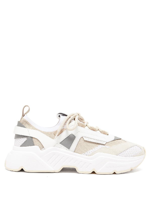 Dolce & Gabbana Daymaster Leather, Suede And Mesh Trainers In Multicolor