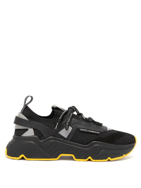 Dolce & Gabbana Dolce And Gabbana Black Stretch Knit Daymaster Sneakers In 8b956 Nero