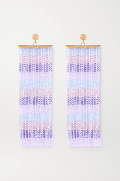 Jacquemus Les Rideaux Beaded Gold-tone Earrings In Purple