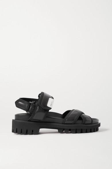 Ganni Cross-strap Leather Sandals In Black
