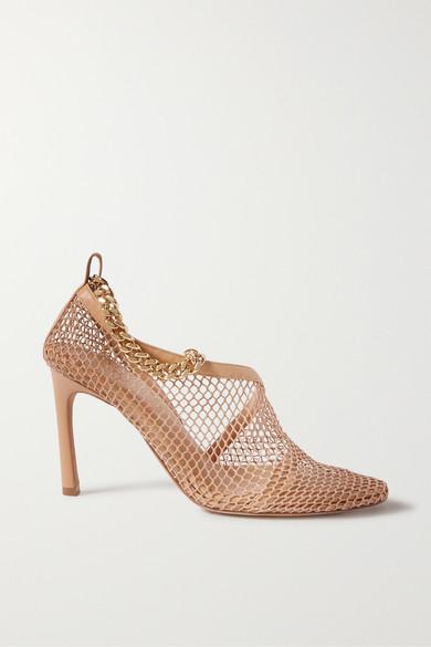 Bottega Veneta Mesh Chain Leather Ankle-strap Sandals In Beige