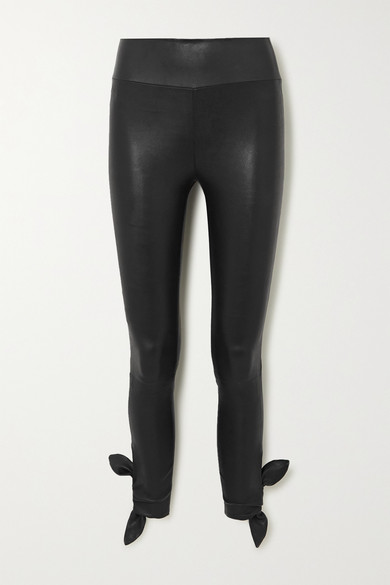 Sprwmn Knotted Leather Leggings In Black