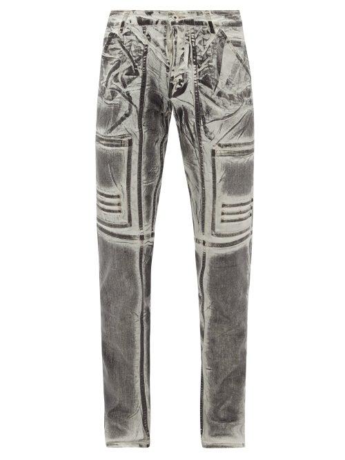 Rick Owens Drkshdw Nagakin Printed Stretch Cotton-blend Jeans In Black