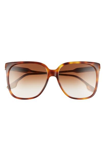Victoria Beckham Core 59mm Square Gradient Sunglasses In Tortoise