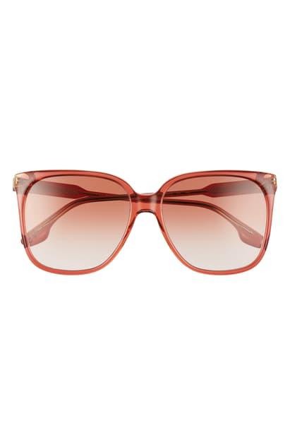 Victoria Beckham Core 59mm Square Gradient Sunglasses In Wine/ Honey