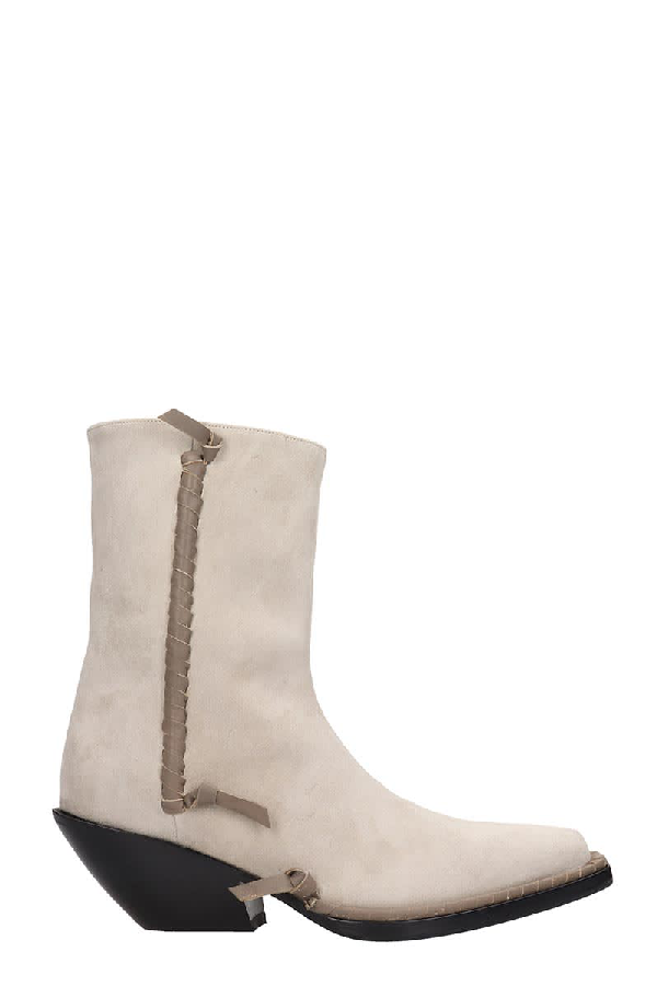 Acne Studios Breanna Texan Ankle Boots In Beige Suede In Neutrals