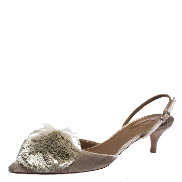 Aquazzura Grey Velvet Powder Puff Pointed Toe Slingback Sandals Size 39