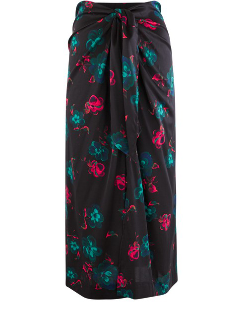 Ganni Knotted Floral-print Silk-blend Satin Midi Skirt In Black