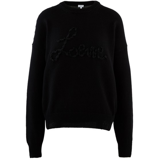 Loewe Cotton Crew-neck Sweater In Black