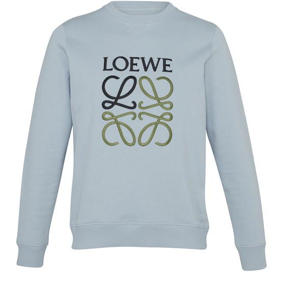 Loewe Logo-embroidered Loopback Cotton-jersey Sweatshirt In Blue