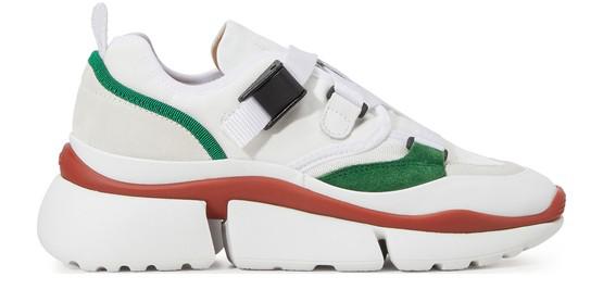 ChloÉ Chloe Sonnie Leather Velcro Strap Sneakers In White In 39v Green