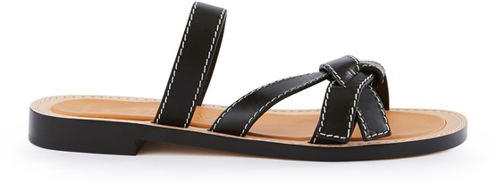Loewe Gate Knot-front Leather Slides In Black