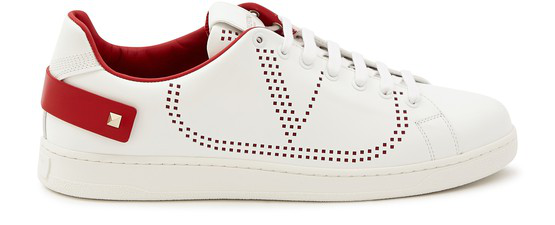 Valentino Garavani Backnet Sneakers In White And Red With Perforated L