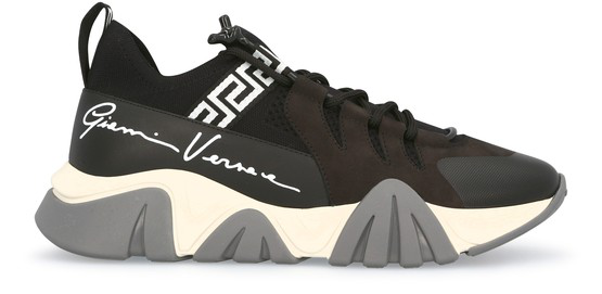 Versace Shark Sneakers In Suede And Mesh With Logo In Black