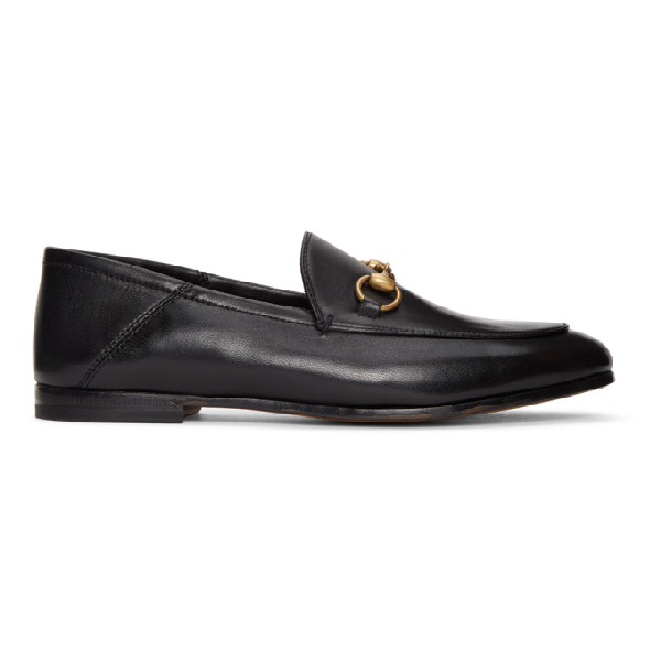Gucci Brixton Horsebit-detailed Leather Collapsible-heel Loafers In 1000 Black