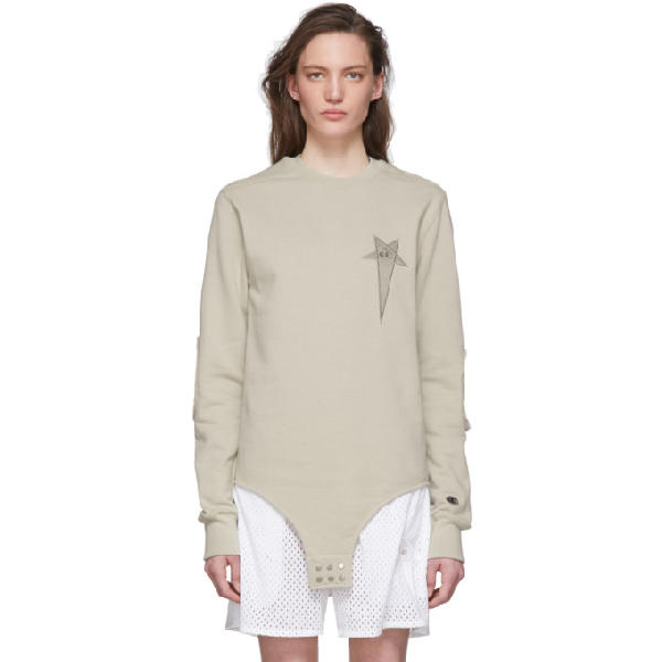 Rick Owens Off-white Champion Edition Long Sleeve T-shirt In 08 Pearl