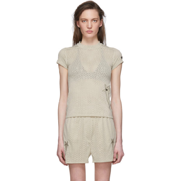 Rick Owens Grey Champion Edition Mesh Small Level T-shirt In 08 Pearl