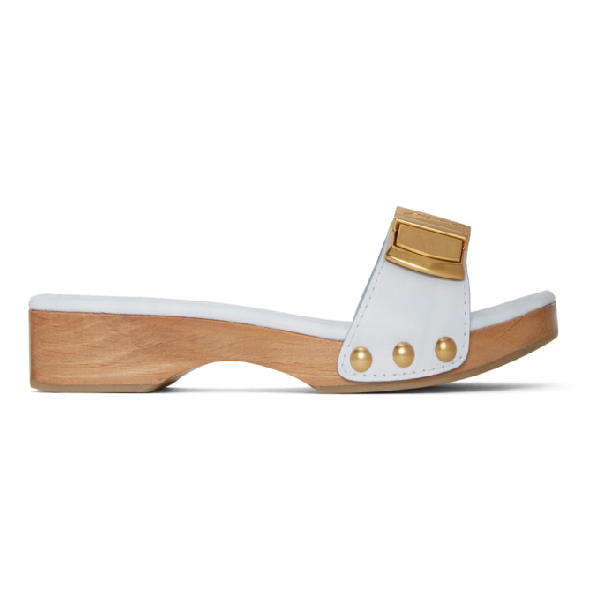 Jacquemus White Les Tatanes 15 Wooden Clog Sandals In Print Blue
