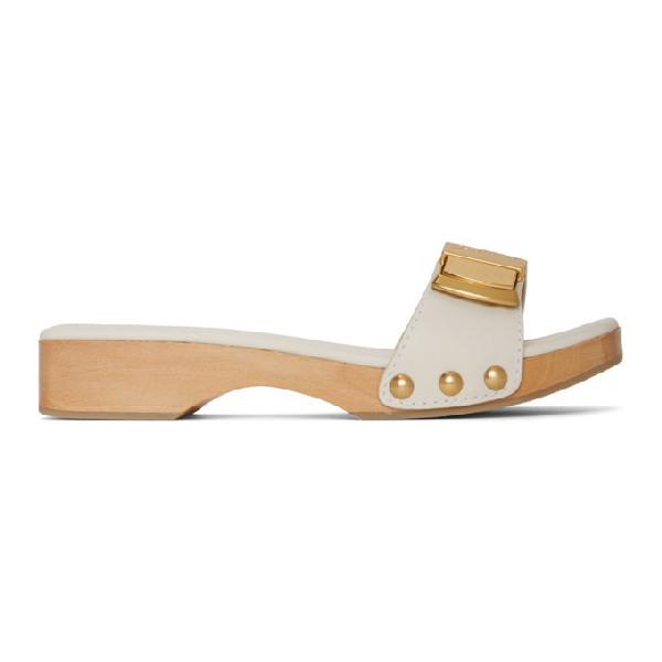 Jacquemus White Les Tatanes 15 Wooden Clog Sandals In Blue Check