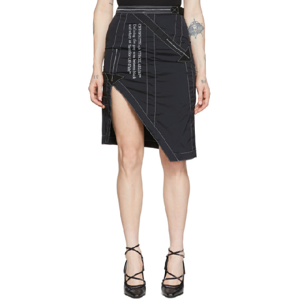 Off-white Black And White Asymmetric Slit Skirt