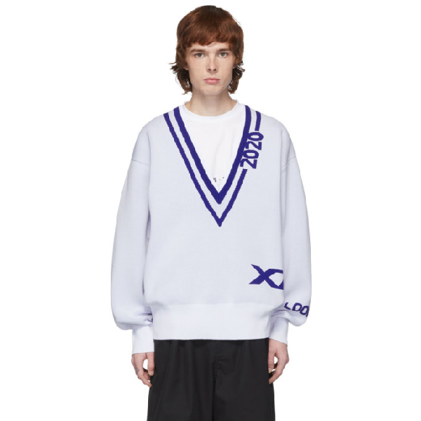 Xander Zhou White And Navy 2020 Sweater In White/navy