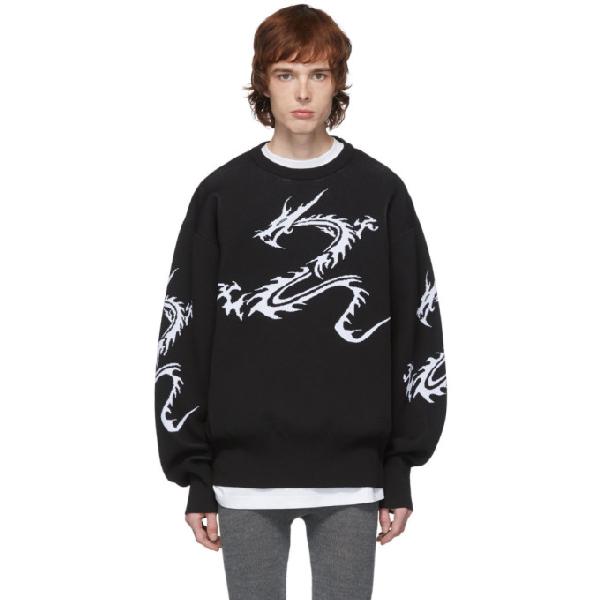 Xander Zhou Black Dragon Sweater