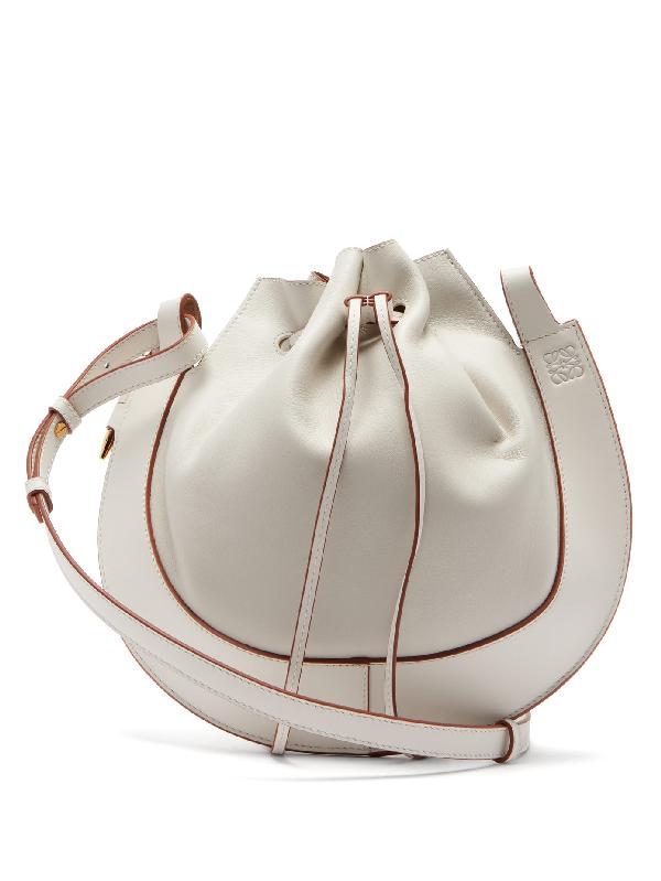 Loewe Horseshoe Leather Crossbody Bag In White