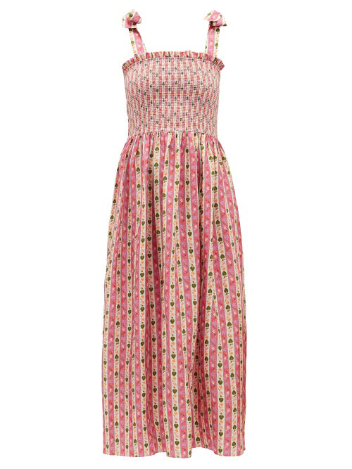 Muzungu Sisters May Botanical-print Silk-faille Dress In Pink Print