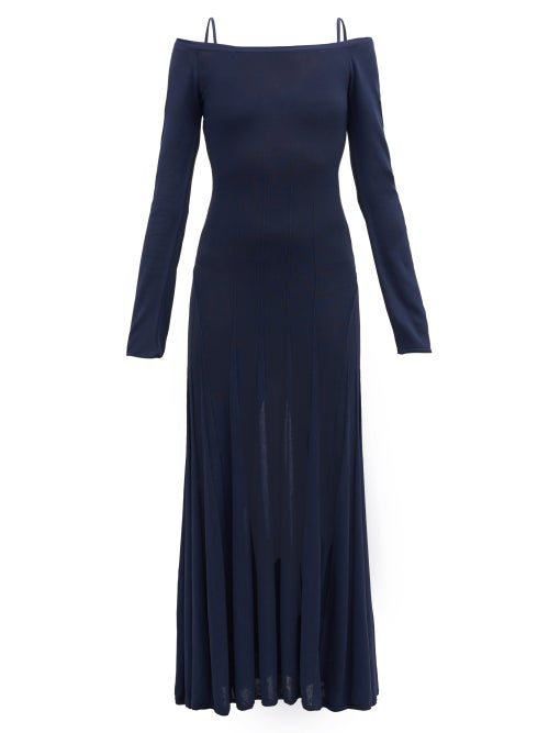 Jacquemus Valensole Cold-shoulder Knitted Maxi Dress In Navy