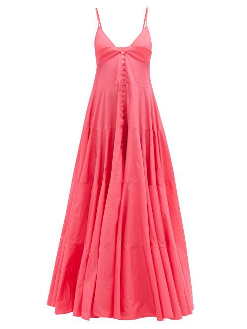 Jacquemus La Robe Manosque Tiered Chiffon Maxi Dress In Rosa
