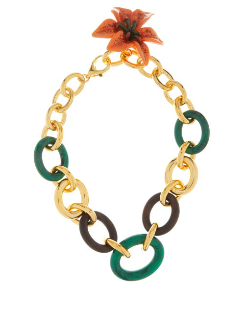 Dolce & Gabbana Flower Pendant Cable-chain Necklace In Green Multi