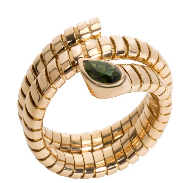 Bvlgari 18k Yellow Gold Serpenti Garnet Tubogas Ring Size 58