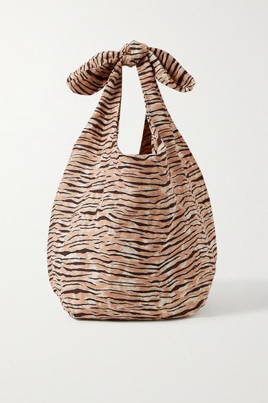 Faithfull The Brand Net Sustain Hanna Tiger-print Linen Tote In Tan