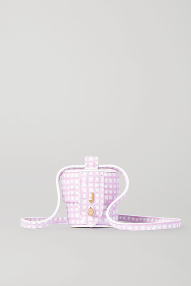 Jacquemus Le Micro Vanity Mini Checked Leather Shoulder Bag In Purple