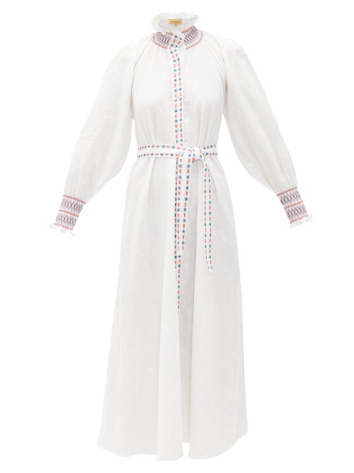 Muzungu Sisters Alice Embroidered Belted Linen Shirt Dress In White