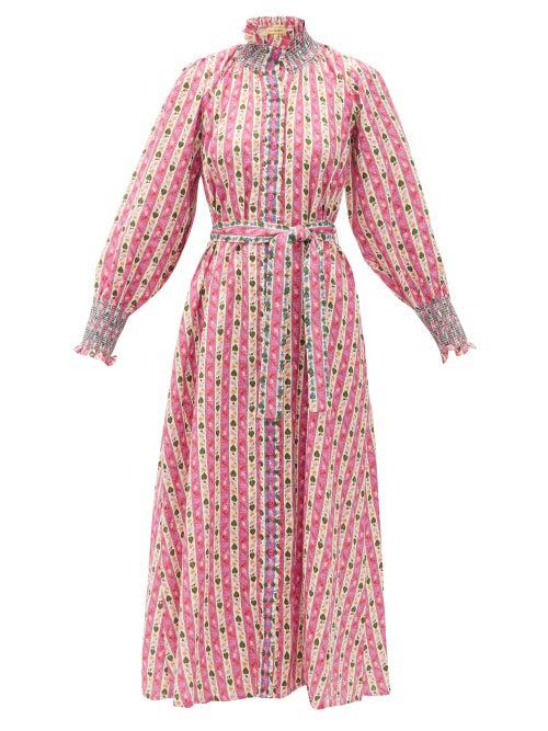 Muzungu Sisters Alice Botanical-print Linen Midi Dress In Pink Print