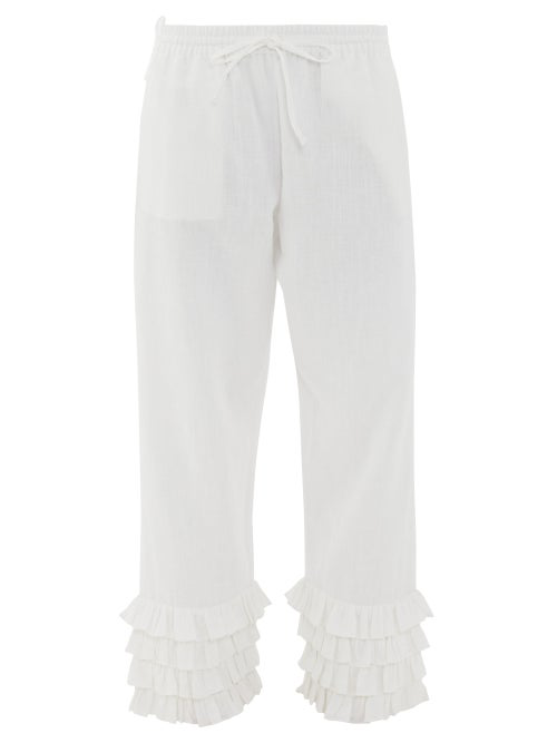 Muzungu Sisters Talitha Tiered-cuff Organic-cotton Trousers In White
